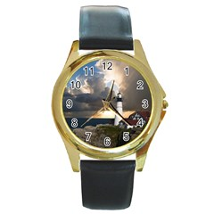 Lighthouse Beacon Light House Round Gold Metal Watch