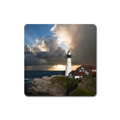 Lighthouse Beacon Light House Square Magnet by Nexatart