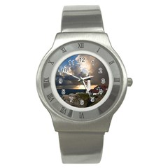 Lighthouse Beacon Light House Stainless Steel Watch by Nexatart
