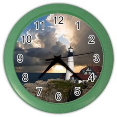 Lighthouse Beacon Light House Color Wall Clocks