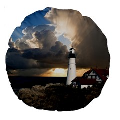 Lighthouse Beacon Light House Large 18  Premium Round Cushions by Nexatart