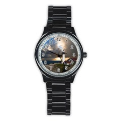 Lighthouse Beacon Light House Stainless Steel Round Watch by Nexatart
