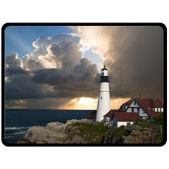 Lighthouse Beacon Light House Double Sided Fleece Blanket (large)  by Nexatart