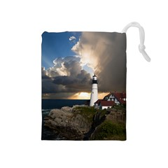Lighthouse Beacon Light House Drawstring Pouches (medium)  by Nexatart