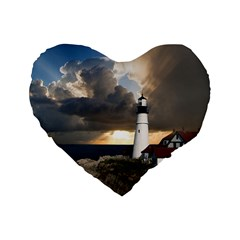 Lighthouse Beacon Light House Standard 16  Premium Flano Heart Shape Cushions by Nexatart
