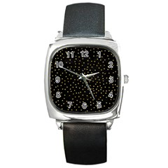 Grunge Pattern Black Triangles Square Metal Watch