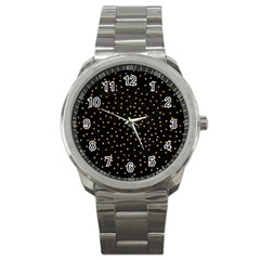 Grunge Pattern Black Triangles Sport Metal Watch