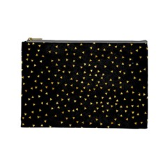 Grunge Pattern Black Triangles Cosmetic Bag (large)