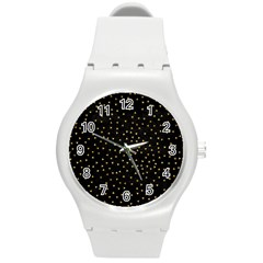 Grunge Pattern Black Triangles Round Plastic Sport Watch (m)