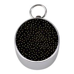 Grunge Pattern Black Triangles Mini Silver Compasses