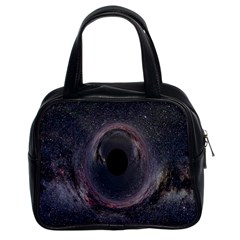 Black Hole Blue Space Galaxy Star Classic Handbags (2 Sides) by Mariart