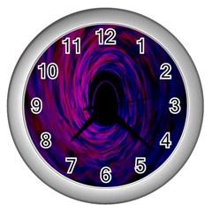 Black Hole Rainbow Blue Purple Wall Clocks (silver)  by Mariart