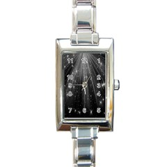 Black Rays Light Stars Space Rectangle Italian Charm Watch by Mariart