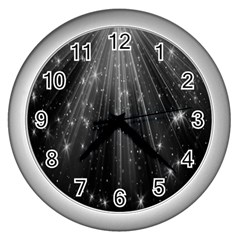 Black Rays Light Stars Space Wall Clocks (silver)  by Mariart
