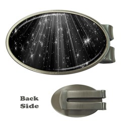 Black Rays Light Stars Space Money Clips (oval)  by Mariart
