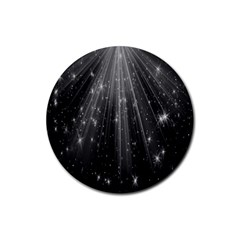 Black Rays Light Stars Space Rubber Coaster (round)  by Mariart