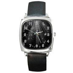 Black Rays Light Stars Space Square Metal Watch by Mariart
