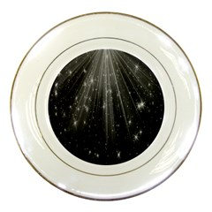Black Rays Light Stars Space Porcelain Plates by Mariart