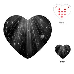 Black Rays Light Stars Space Playing Cards (heart)  by Mariart
