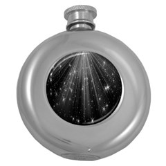 Black Rays Light Stars Space Round Hip Flask (5 Oz) by Mariart