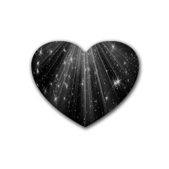 Black Rays Light Stars Space Rubber Coaster (heart)  by Mariart