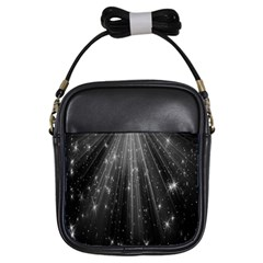 Black Rays Light Stars Space Girls Sling Bags by Mariart