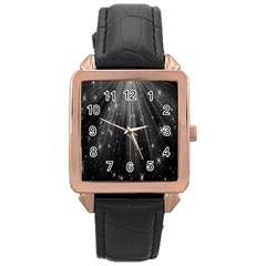Black Rays Light Stars Space Rose Gold Leather Watch  by Mariart