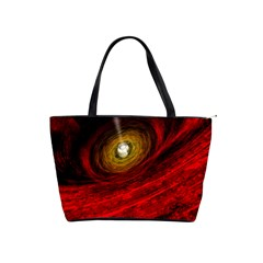Black Red Space Hole Shoulder Handbags by Mariart