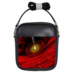 Black Red Space Hole Girls Sling Bags by Mariart