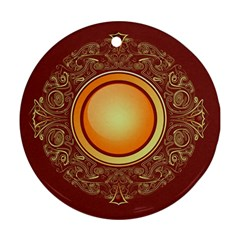 Badge Gilding Sun Red Oriental Ornament (round)