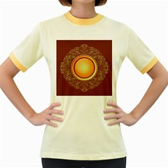 Badge Gilding Sun Red Oriental Women s Fitted Ringer T Shirts