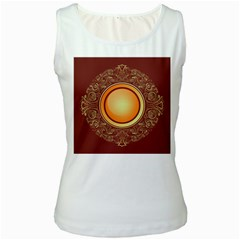 Badge Gilding Sun Red Oriental Women s White Tank Top