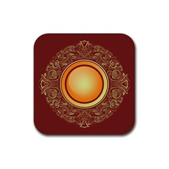 Badge Gilding Sun Red Oriental Rubber Square Coaster (4 Pack)  by Nexatart