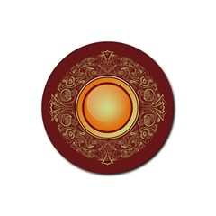 Badge Gilding Sun Red Oriental Rubber Coaster (round)