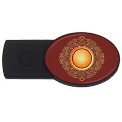 Badge Gilding Sun Red Oriental Usb Flash Drive Oval (2 Gb)