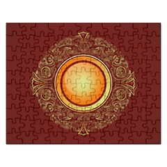 Badge Gilding Sun Red Oriental Rectangular Jigsaw Puzzl