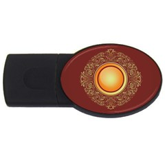 Badge Gilding Sun Red Oriental Usb Flash Drive Oval (4 Gb) by Nexatart