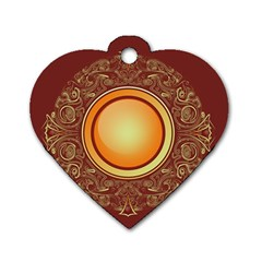 Badge Gilding Sun Red Oriental Dog Tag Heart (two Sides)