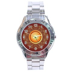 Badge Gilding Sun Red Oriental Stainless Steel Analogue Watch