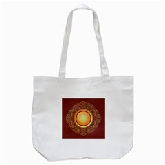 Badge Gilding Sun Red Oriental Tote Bag (white)