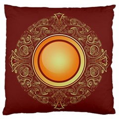 Badge Gilding Sun Red Oriental Large Flano Cushion Case (two Sides)