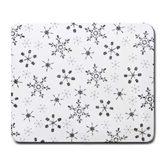 Black Holiday Snowflakes Large Mousepads by Mariart