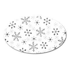 Black Holiday Snowflakes Oval Magnet by Mariart