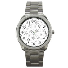 Black Holiday Snowflakes Sport Metal Watch by Mariart