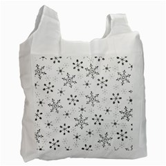 Black Holiday Snowflakes Recycle Bag (two Side)  by Mariart
