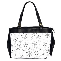 Black Holiday Snowflakes Office Handbags (2 Sides)  by Mariart