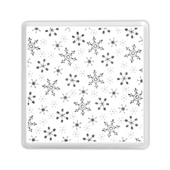 Black Holiday Snowflakes Memory Card Reader (square)  by Mariart