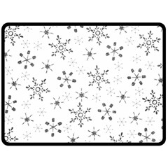 Black Holiday Snowflakes Double Sided Fleece Blanket (large)  by Mariart