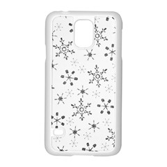 Black Holiday Snowflakes Samsung Galaxy S5 Case (white) by Mariart