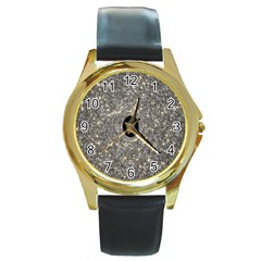 Black Hole Blue Space Galaxy Star Light Round Gold Metal Watch by Mariart